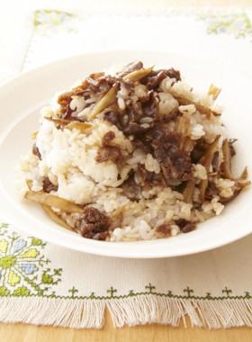 新ごぼうと牛肉の甘辛炒め煮混ぜご飯