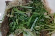 牛こま切れ肉と水菜の炒め物