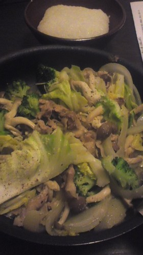 塩麹を使った野菜炒め