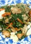 ニラと豚肉と豆腐のにんにく醤油中華風炒め
