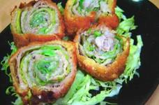 キャベツと豚バラ肉のロールカツ