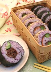 サーモンと牛肉の変わり巻き寿司