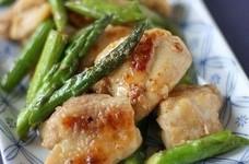 塩麹鶏とアスパラの焦がし醤油炒め