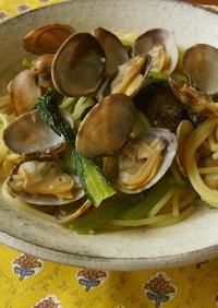 鉄分たっぷり♫あさりと小松菜の塩麹パスタ