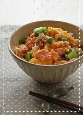 鮭とスナップエンドウの混ぜごはん