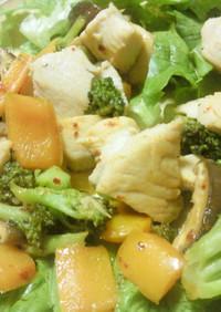 塩麹で胸肉パプリカブロッコリーの炒め物