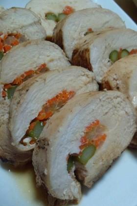 塩麹さんで鶏むね肉の野菜ロール