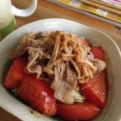 豚肉とエノキの炒め物とトマトロースト