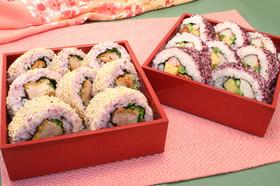 とんかつ巻き寿司と彩り巻き寿司