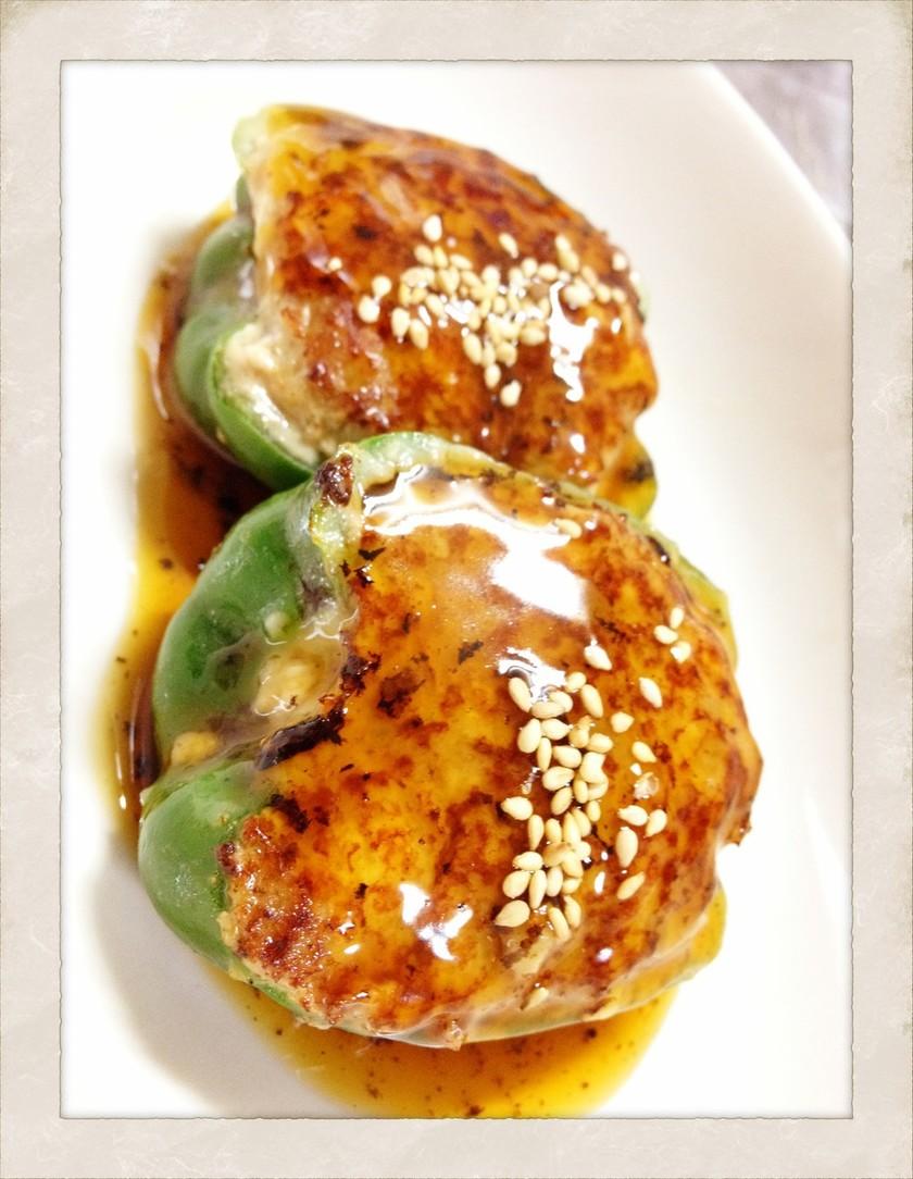 【木綿豆腐】ピーマンの肉詰め