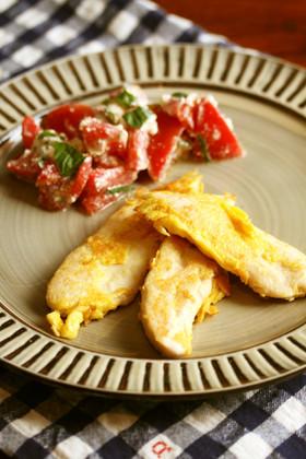 ささみピカタとトマトとカットチーズサラダ