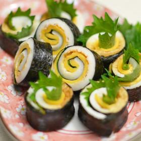 ちくわチーズ+青紫蘇♪海苔巻き風