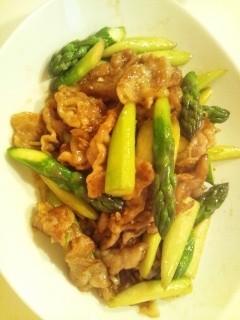 豚肉とアスパラの中華炒め