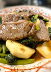 牛肉とカブの葉のオイスターソース炒め