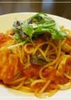 塩鶏で簡単トマトパスタ