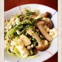 【絹ごし豆腐】水菜の炒め物