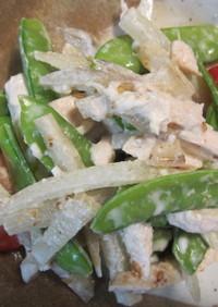 ムネ肉、絹さや、ヤーコンの塩麹入りサラダ