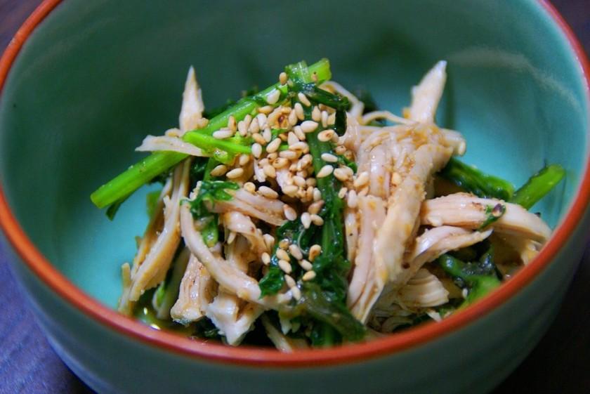 ♥からし菜と鶏ささみの中華ごまあえ♥