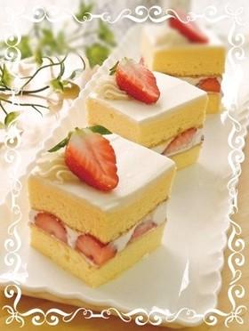 シフォン生地で簡単ショートケーキ♡
