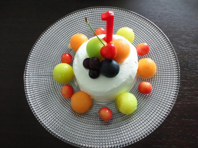 一歳の誕生日ケーキ(イチゴがなくても❤)
