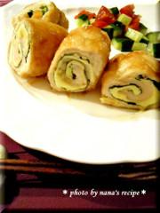 麺つゆで簡単★鶏ささみのチーズ梅大葉巻きの写真