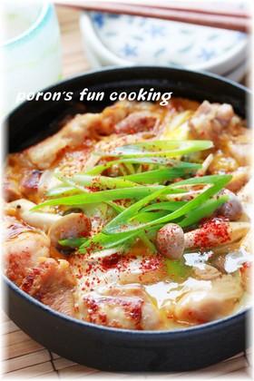 ✿旨みギュッ♬塩麹鶏のすき焼き風卵とじ✿