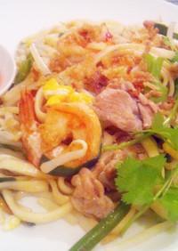 乾麺でタイ風の焼きうどん(パッタイ風)