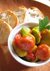デリ風♪そら豆とウインナーのトマト煮