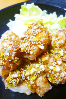 鶏むね肉の塩麹油淋鶏(ユーリンチー)◇