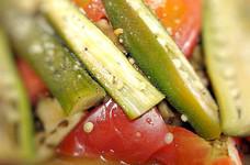 簡単副菜☆茄子とオクラのトマト焼き