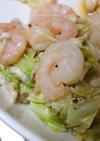 キャベツと海老の粒マスマヨ炒め