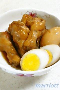 鶏手羽元とゆで卵の煮付け