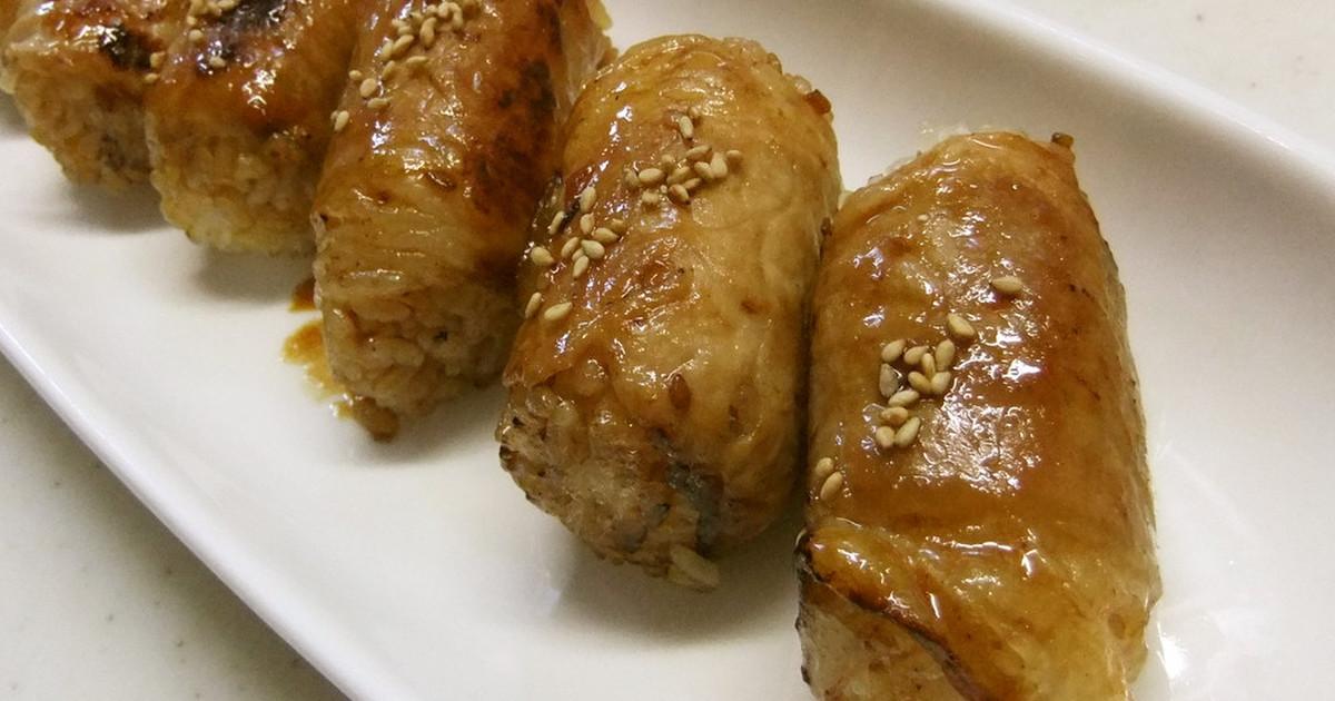簡単☆焼肉のタレで肉巻きおにぎり by oharumin