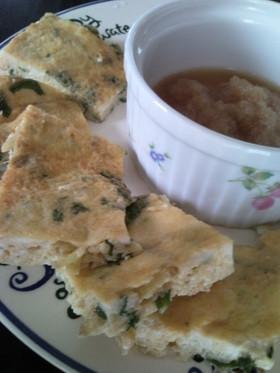 豆腐と卵のふわふわ焼き(生姜&春菊)