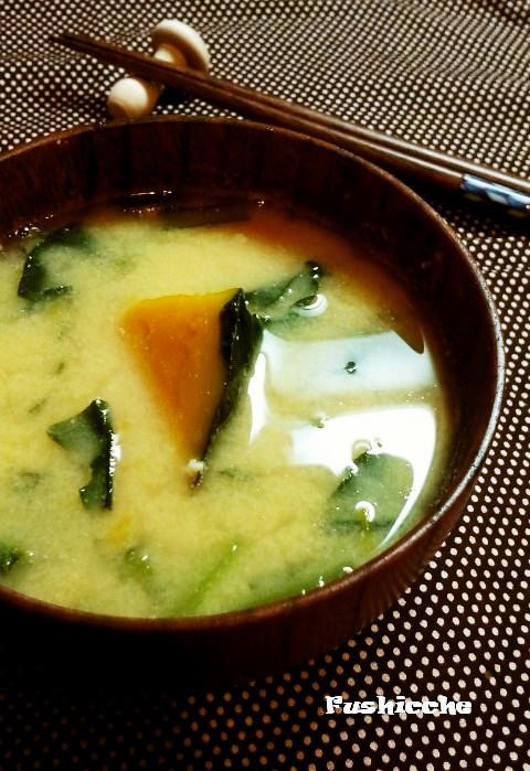 健康美人☆小松菜とカボチャの味噌汁
