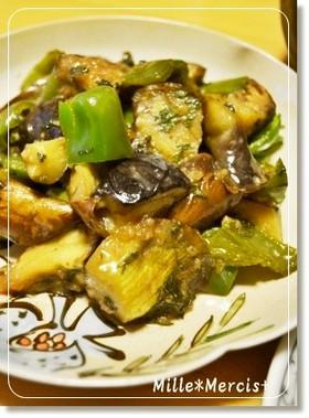 茄子とピーマンの大葉味噌(醤油麹)炒め