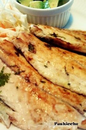 ワカシ(白身魚)のレモンパセリ焼き