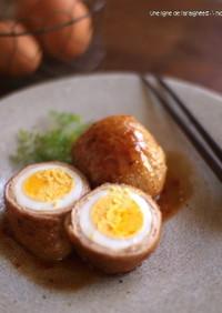 茹で卵の肉巻き。