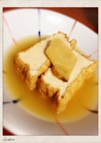 【厚揚げ】めんつゆで生姜煮