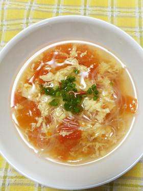 トマトと卵と春雨の中華スープ
