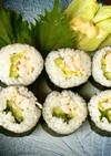 お昼ご飯は巻き寿司をサラダ風♪