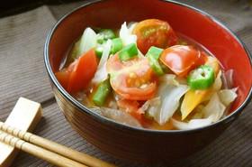 夏野菜☆オクラとトマトのスタミナみそ汁
