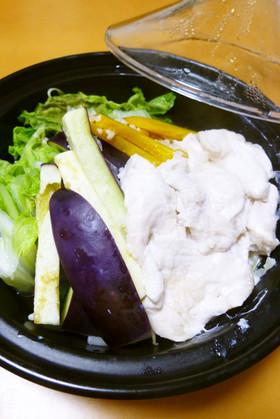 レンジde鶏むね肉の塩麹蒸し(タジン鍋)