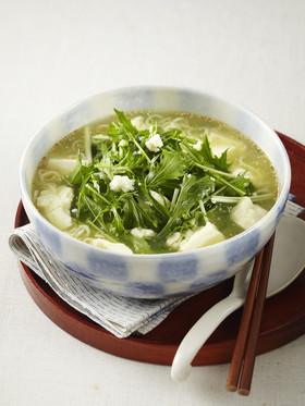 くずし豆腐と水菜のとろみ塩チャルメラ
