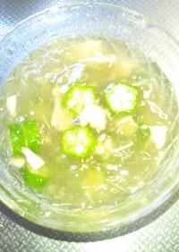 オクラとツナの冷たい和風トロトロスープ