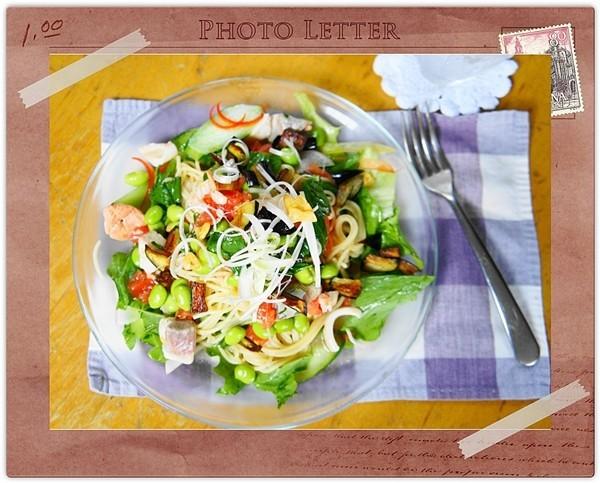 夏野菜とシーフードの冷しパスタ