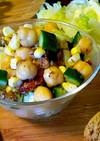 ひよこ豆とコーンと胡瓜のハーブサラダ