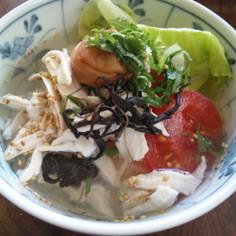 夏のランチに★冷やしスープかけサラダご飯