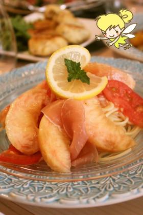 夏季限定☆桃と生ハムとトマトの冷製パスタ