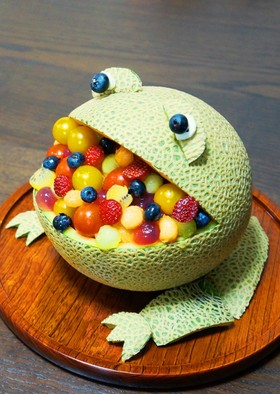 ♥ メロンで食いしん坊かえるデザート♥